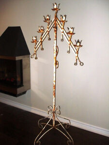 GOTHIC antique CHURCH wrought iron CANDLE STAND DECORATOR