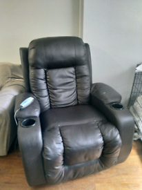 Recliner chair with massage and heated seat functions