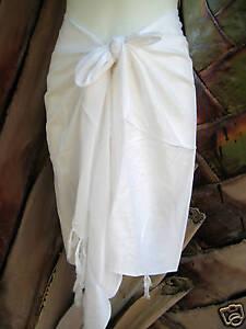 Hawaii Hawaiian Sarong Pareo Short White Coverup Pareo Luau Cruise Wrap Skirt