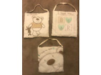 Nursery hanging decorations with teddy on
