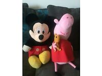Big soft toys characters Peppa Pig and Mickey Mouse