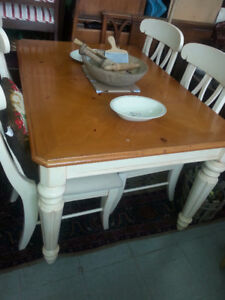 PINE DINING TABLE 4 CHAIRS 1 LEAF(SOLD )