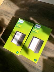 Philips Ecomoods Bridge Outdoor Wall Light, Anthracite (pair)