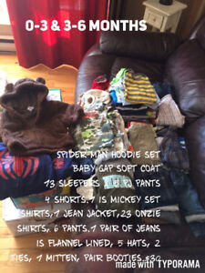 Box of baby boy clothes 0-3 & 3-6 months