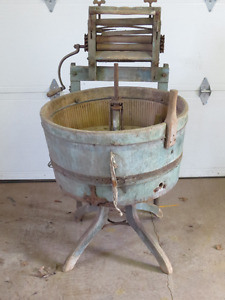 Antique wooden washing machine and ringer
