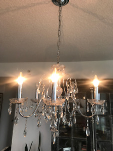 Moving Sale - 5 Light Chrome and Glass Chandelier
