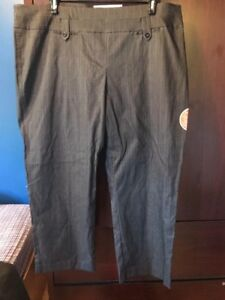 Pennington's size 24p grey striped dress pants, new