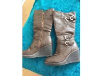 Brown wedged knee high boots size 5 womens