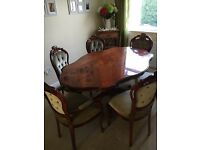 Italian / French style dinning table and 6 chairs