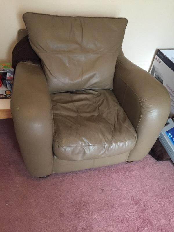 Grey Green Leather Chair In Wakefield West Yorkshire Gumtree