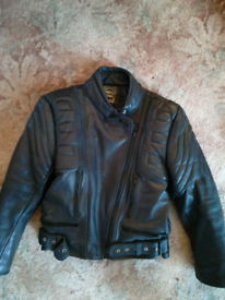 Ladies leather motorcycle jacket..