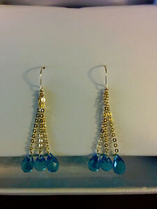 pair of ladies yellow gold hand assembles topaz drop earrings