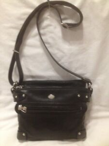 Ladies Black Leather Cross Body Ba Made in Italy by 'The Trend'