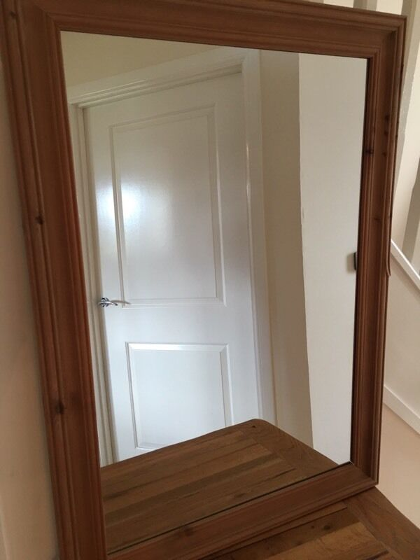 """Mirror 63cm X 88cm2 1"""" X 2 11in Bonnyrigg, MidlothianGumtree - Mirror with Wooden frame from B&Q with hanging wire on back (see photos)"""