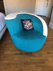 Ultra Suede swivel chair and bench