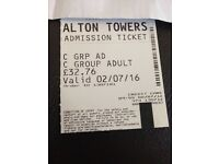 Alton towers any day ticket