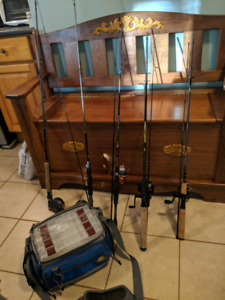 Fishing rods and tackle bag