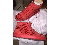 Brand New Christian Louboutin poppy red suede sneakers for sal