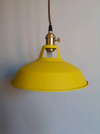 2 X yellow metal light shades with material cord and brass fittings