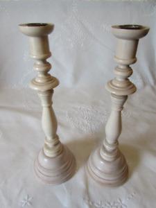 Pair of Tall Wood Candlesticks