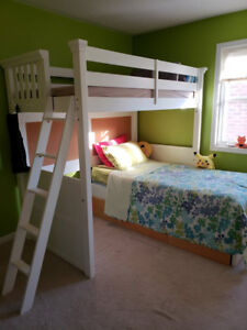 Beautiful White Loft Bed + Ikea Bed with drawers