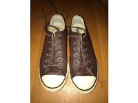 Brown Leather Converse Size 4