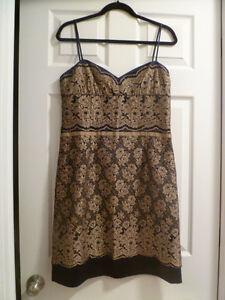 NEW NINE WEST DARK PURPLE/BRONZE LACE OVERLAY NICE DRESS, SZ.8