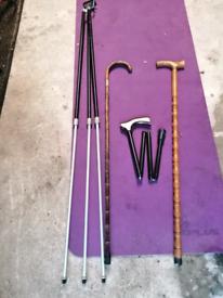 Walking sticks+vintage tripod