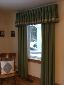 Custom lined drapery panels and toppers