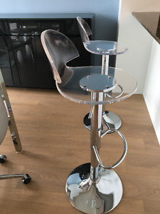 Contemporary chrome and acrylic adjustable height bar stools - 2