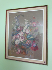 Needlepoint picture, flowers, framed.