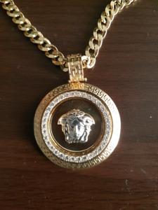 "23.25""/60cm 14k Gold Chain Cuban Link Medusa Head"