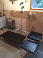 furniture - 3 tables, floor lamp