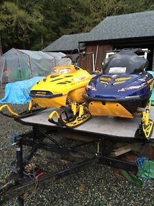 TWO  SKIDOOS AND TRAILER