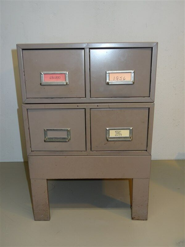 Vintage Steelmaster Card File Stack 2 Double Drawer & Stand