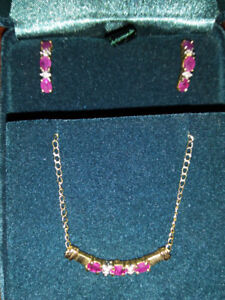 Rudy, diamond and gold necklace and earring set -new