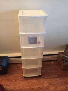 Tall white and clear organization unit