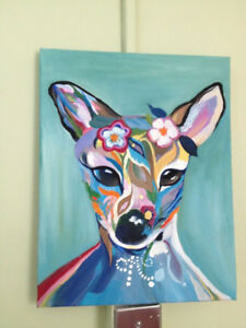 Cami's Art--turquoise deer; oil on canvas