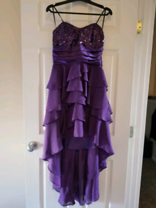 Lovely purple high low style formal dress