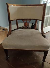 Edwardian inlaid mahogany tub chair