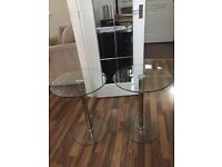 Side tables - glass and chrome