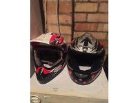 2 x helmets 2 x goggles