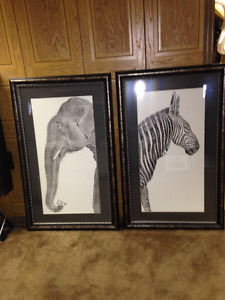 Two large lithograph framed prints