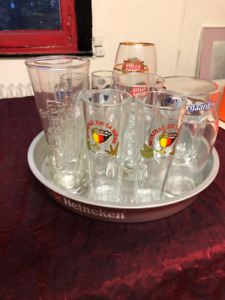 12 Beer Glasses and 1 Tray