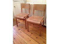 X4 vintage wooden stacking chairs