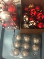 40 Silver and Red Christmas Ornaments