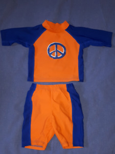 Baby Boys 2pc iPlay Pool Swim Diaper Outfit Size 6mts,Like New