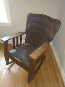 Antique Rocking Chair - Wood & Brown Leather