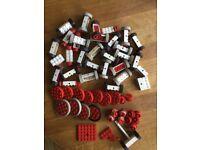 Lego, job lot of vintage wheels and 16 train wheels