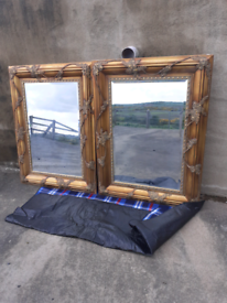 Mirror pair / upcycle project/ vintage looking / Bar / salon
